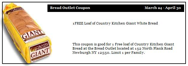 Free Loaf Of Giant White Bread Newburgh Bread Outlet Mothers